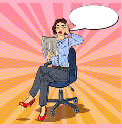 pop art business woman reading a newspaper vector image