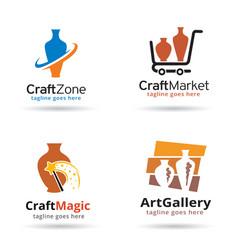 Pottery logo template vector