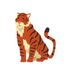 Powerful tiger sitting wild cat predator cartoon vector