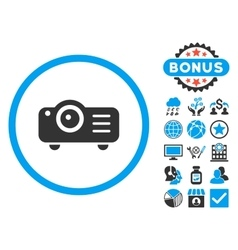 Projector Flat Icon with Bonus vector image