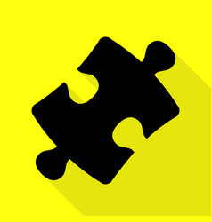 Puzzle piece sign black icon with flat style vector
