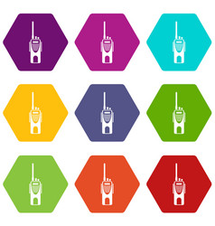 radio transmitter icon set color hexahedron vector image