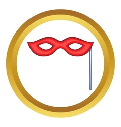 Red carnival mask icon vector