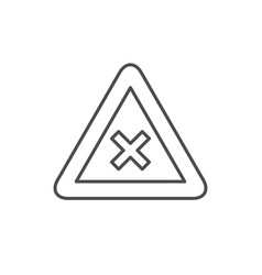 Restriction sign line outline icon vector