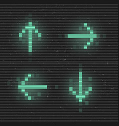 Retrofuturistic set glitch arrows green vector