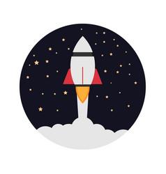 Rocket ship soar up into sky through the vector