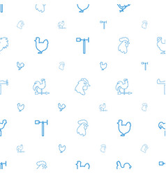 rooster icons pattern seamless white background vector image