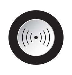 Round black white button - sound vibration icon vector