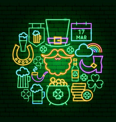 saint patrick day neon concept vector image