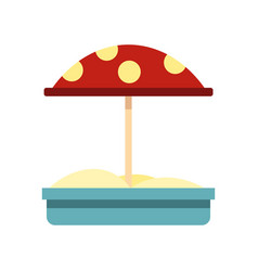 sandbox with red dotted umbrella icon flat style vector image