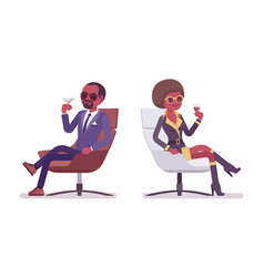 secret agent black man and woman spies relaxing vector image