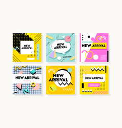 set banners with abstract geometric pattern for vector image