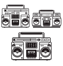 set boombox cassette players design element vector image