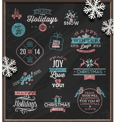 Set christmas signs emblems and greetings vector