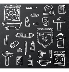Set of bathroom equipment on black vector