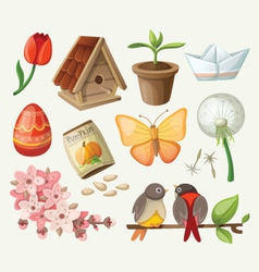 set of spring items vector image vector image