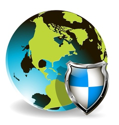 shield globe vector image