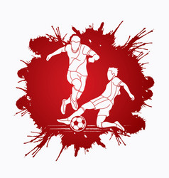 soccer player slide action graphic vector image