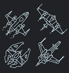 spaceship outline linear flying rocket vector image