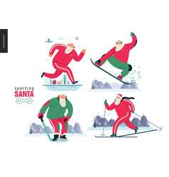 Sporting santa - winter otdoor activities vector