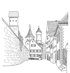 Street view in old city medieval cityscape - vector