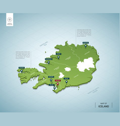 Stylized map iceland isometric 3d green map vector