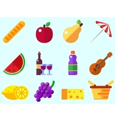 Summer picnic icon vector