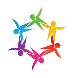 teamwork children people together icon logo vector image