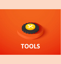 Tools isometric icon isolated on color background vector