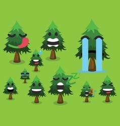 tree icon set cute trees vector image