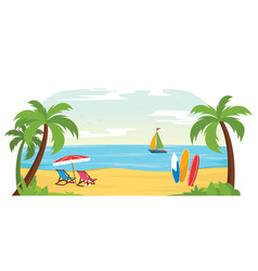 tropical beach landscape surfer vector image