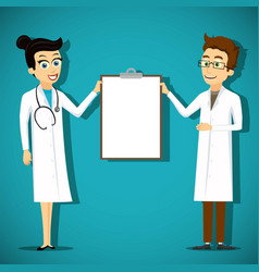 two doctors holding blank clipboard vector image