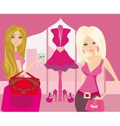 Two fashionable women shopping vector