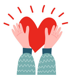 two male hands holding a big red heart on a white vector image