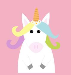Unicorn head face pastel color rainbow hair vector