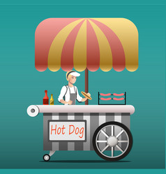 urban kiosk for sale hotdogs vector image