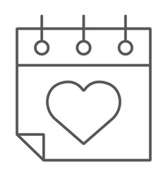 valentines day calendar thin line icon february vector image