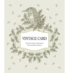 Vintage card in pastel colors with a stylized bird vector