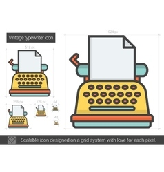 Vintage typewriter line icon vector