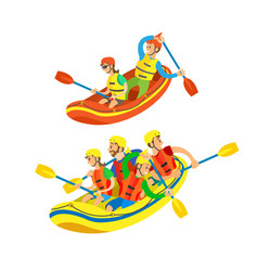 water sports in summer rafting and canoe team set vector image