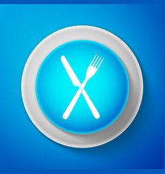 white crossed fork and knife icon restaurant icon vector image