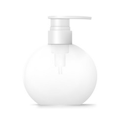 white round cosmetic bottle with dispenser pump vector image