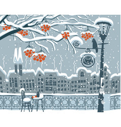 Winter cityscape with street cafe lantern bird vector