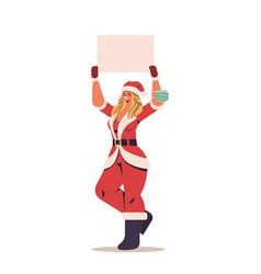 woman in santa claus costume holding blank poster vector image