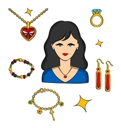 Woman with jewels and gold accessories vector image