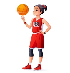 Young Asian basketball player girl spinning vector