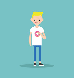 Young blond boy chewing a strawberry donut flat vector