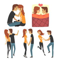 young romantic couple set collection with lovers vector image