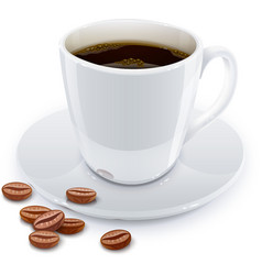 Cup of coffee with grain vector image vector image