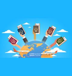 Hands group holding passport ticket boarding pass vector